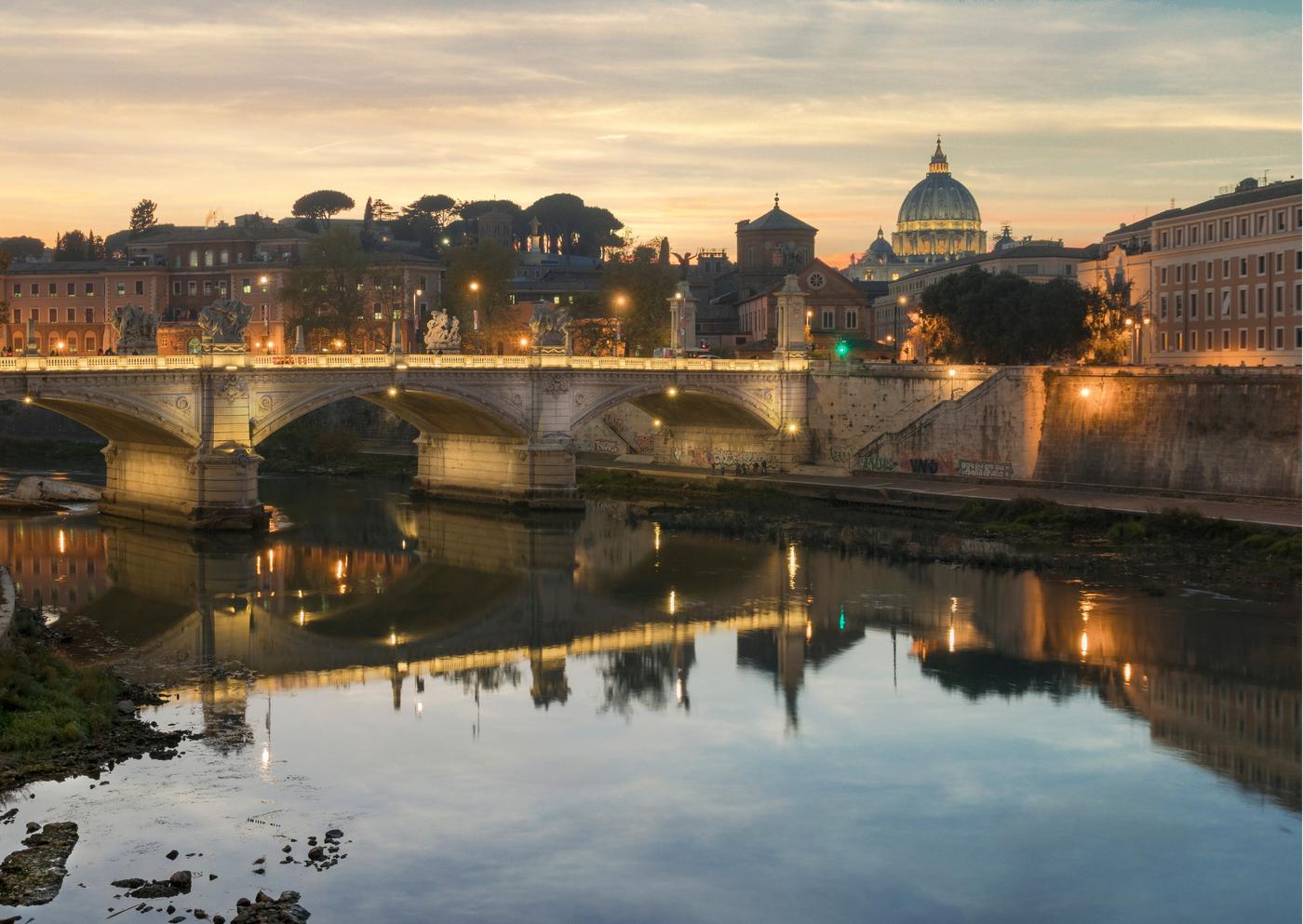 St. Peter's Basilica and River Tiber